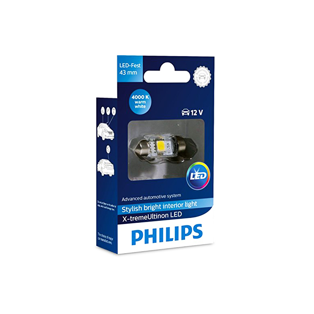 LED Крушка PHILIPS, C5W, 12V, 1W, SV8.5-8, X-tremeUltinon LED, 43мм, СВЕТЛИНИ КУПЕ, 1 брой